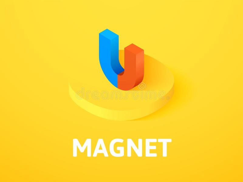 Icona isometrica del magnete, isolata sul fondo di colore royalty illustrazione gratis