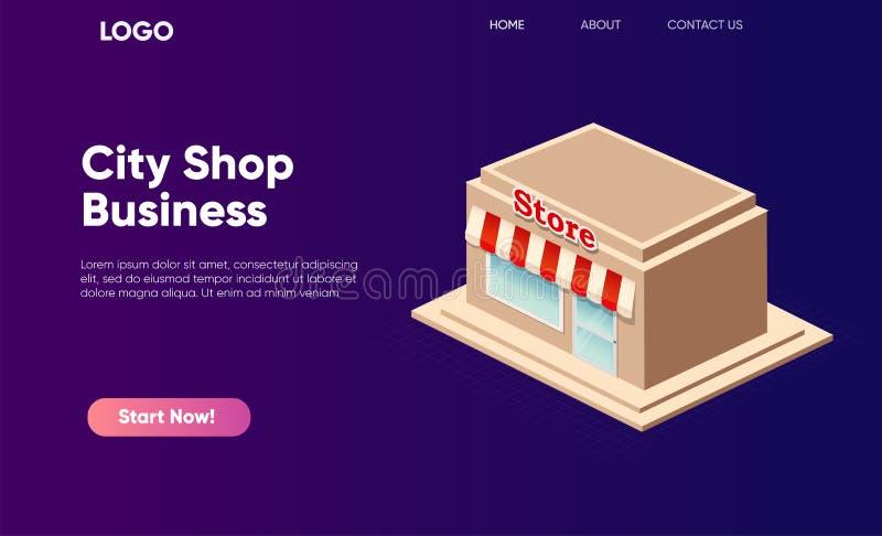 Icona isometrica del supermercato Negozio del prodotto su un'insegna di pendenza illustrazione vettoriale