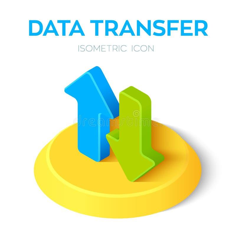 Icona isometrica del trasferimento di dati il download isometrico 3D carica le frecce Creato per il cellulare, web, decorazione,  royalty illustrazione gratis