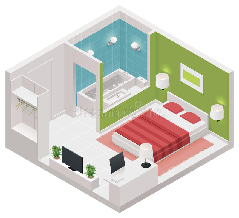 Icona isometrica della camera di albergo di vettore illustrazione vettoriale