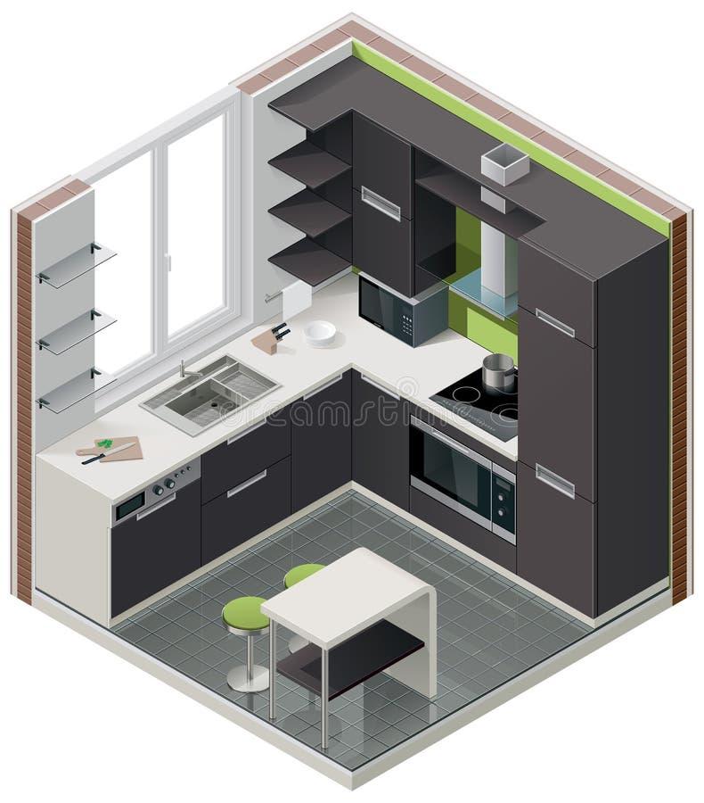 Icona isometrica della cucina di vettore royalty illustrazione gratis