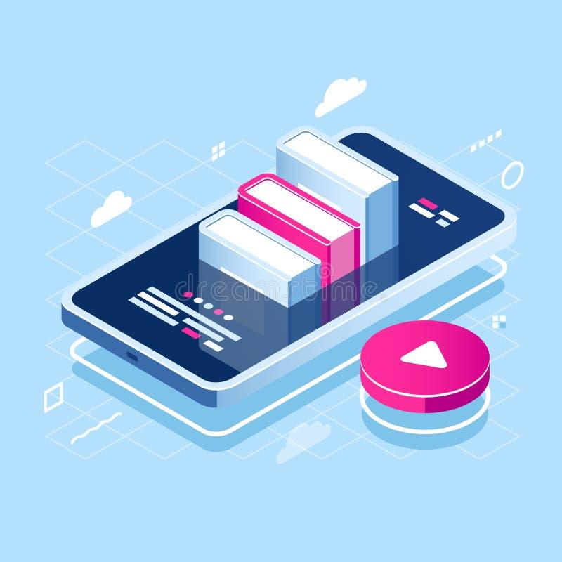 Icona isometrica di concetto di audiolibro, online imparante, mucchio del libro sullo schermo del telefono cellulare, corso di In royalty illustrazione gratis