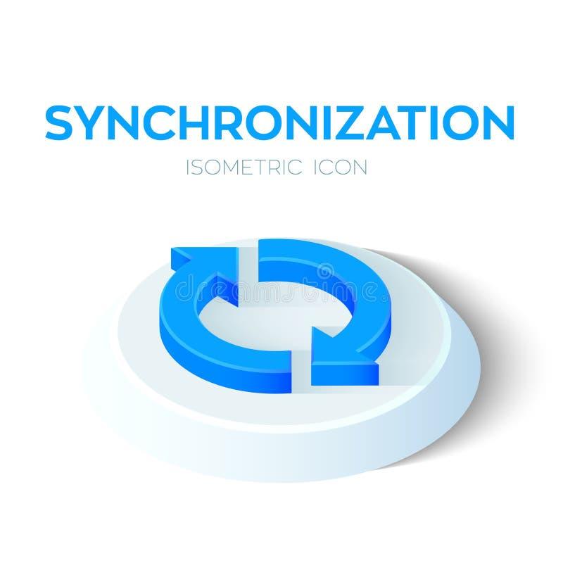 Icona isometrica di sincronizzazione segno isometrico di sincronizzazione 3D Rinfreschi l'icona Creato per il cellulare, web, dec illustrazione vettoriale