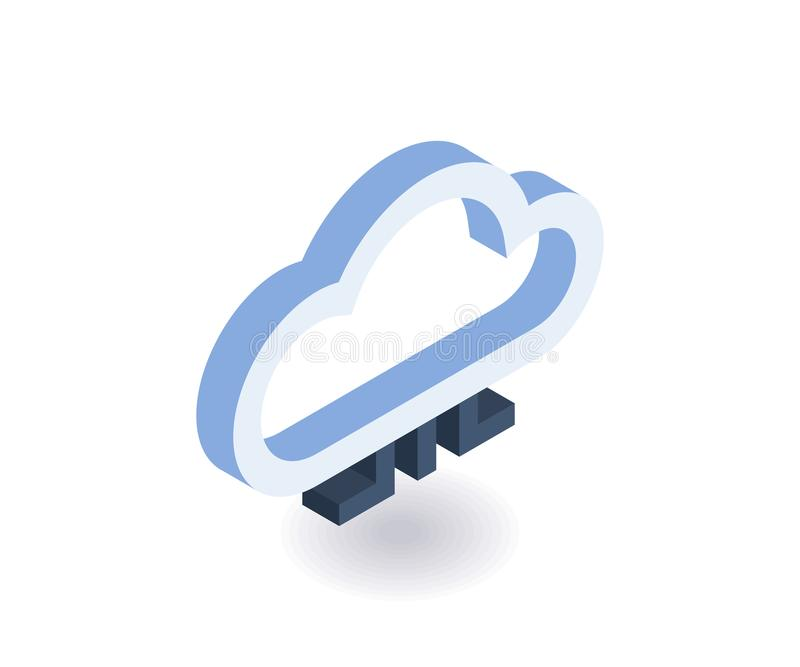 Icona isometrica di tecnologie della nuvola Illustrazione di vettore 3D per web design royalty illustrazione gratis