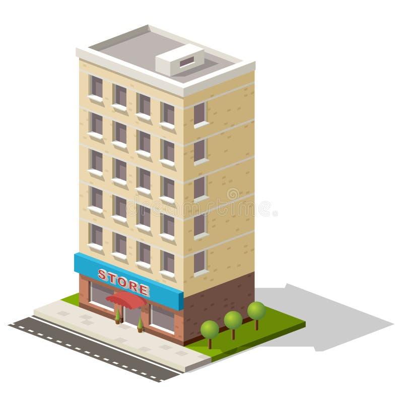 Icona isometrica di vettore che rappresenta deposito o la costruzione del centro commerciale con gli alberi vicini illustrazione vettoriale