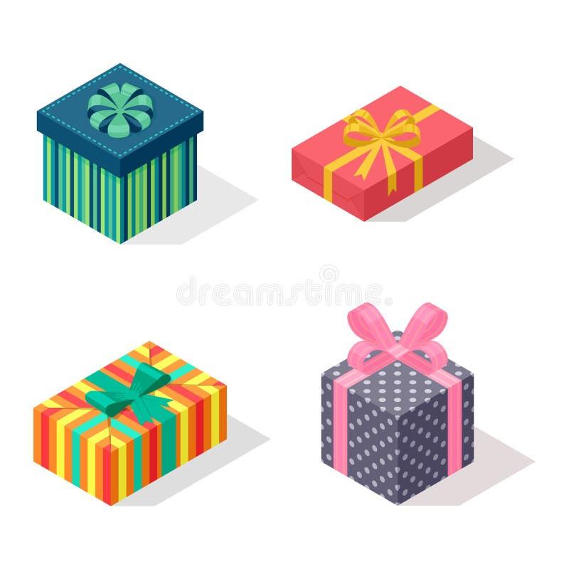 Icona isometrica di vettore del contenitore di regalo isolata royalty illustrazione gratis