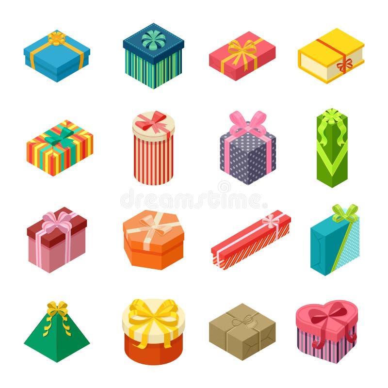Icona isometrica di vettore del contenitore di regalo isolata illustrazione vettoriale