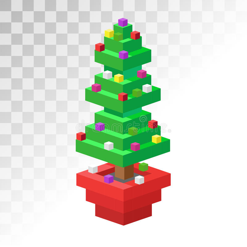 Icona isometrica piana di arte del pixel 3d dell'albero di Natale illustrazione di stock