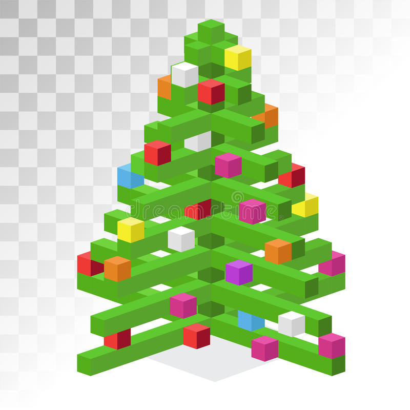 Icona isometrica piana di arte del pixel 3d dell'albero di Natale royalty illustrazione gratis
