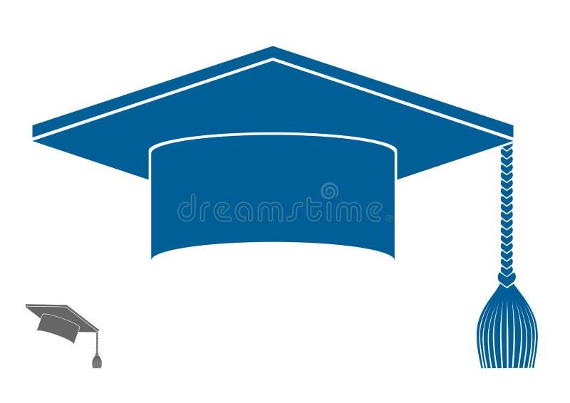 Icona laureata di simbolo del cappello illustrazione vettoriale