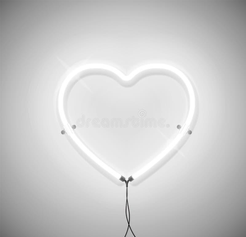 Icona leggera al neon bianca del cuore su fondo grigio Aspetti per la cartolina d'auguri fotografie stock