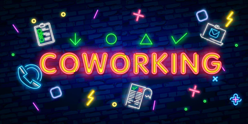 Icona leggera al neon di Coworking Lavoro d'ufficio freelancing Colleghi che lavorano con i computer portatili Segno d'ardore con illustrazione vettoriale