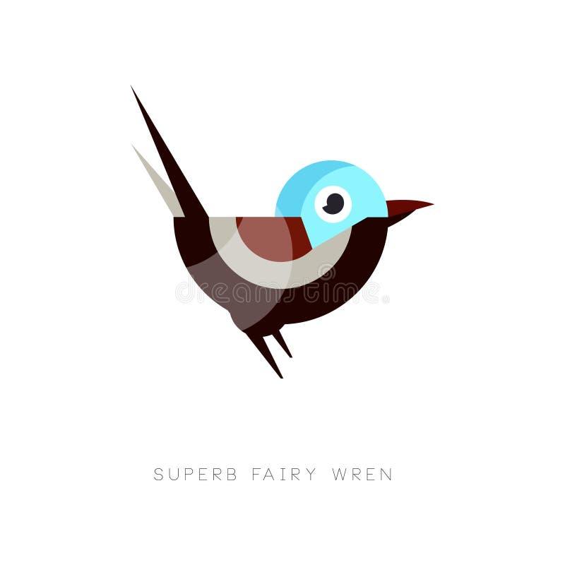 Icona leggiadramente superba colorata dello scricciolo Uccello astratto composto di forme geometriche semplici Elemento piano di  illustrazione di stock