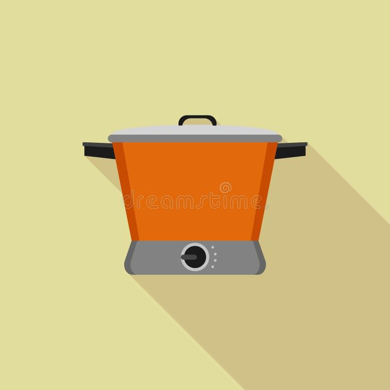 Icona lenta arancio del fornello, stile piano royalty illustrazione gratis