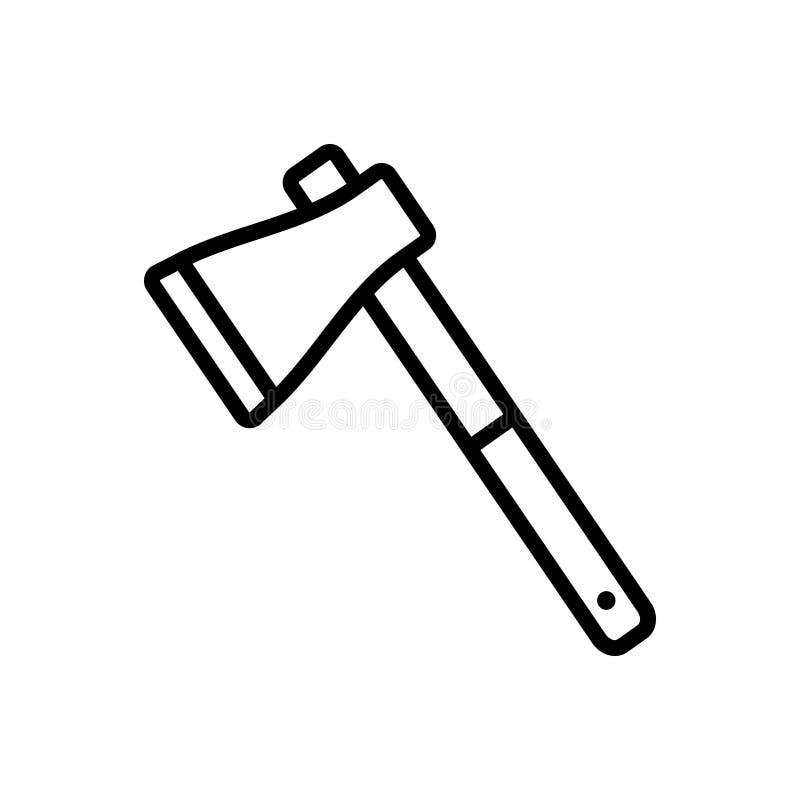 Icona linea nera per Ax, hatchet e adz illustrazione vettoriale