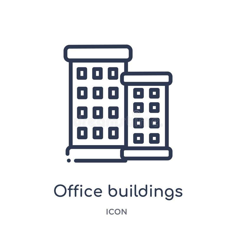 Icona lineare degli edifici per uffici dalla raccolta del profilo delle costruzioni Linea sottile icona degli edifici per uffici  illustrazione vettoriale