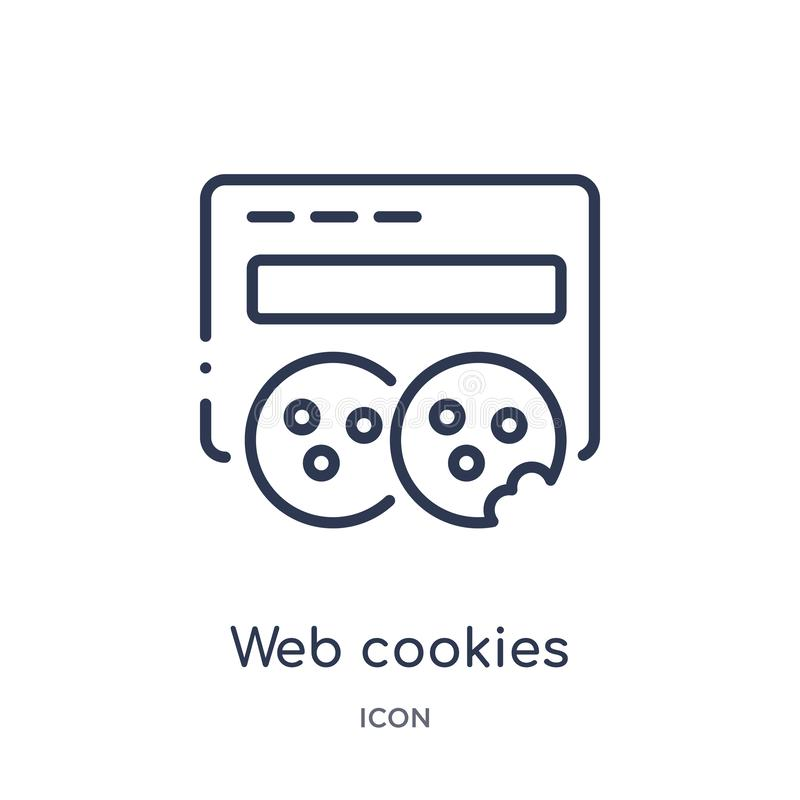 Icona lineare dei biscotti di web da sicurezza di Internet e dalla raccolta del profilo della rete Linea sottile icona dei biscot illustrazione vettoriale
