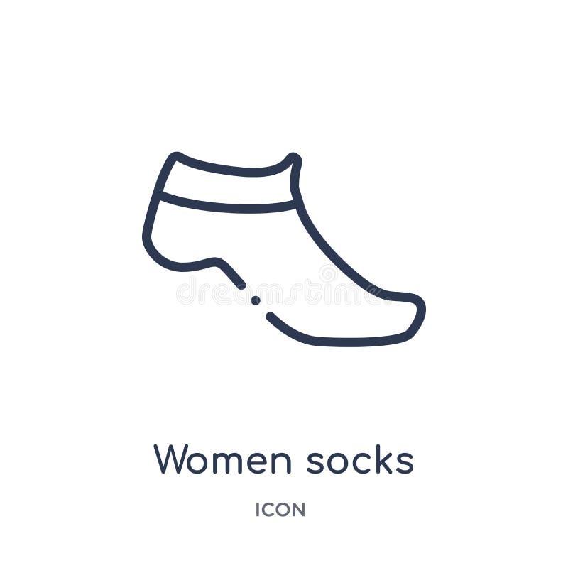 Icona lineare dei calzini delle donne dalla raccolta del profilo dei vestiti Linea sottile vettore dei calzini delle donne isolat illustrazione di stock
