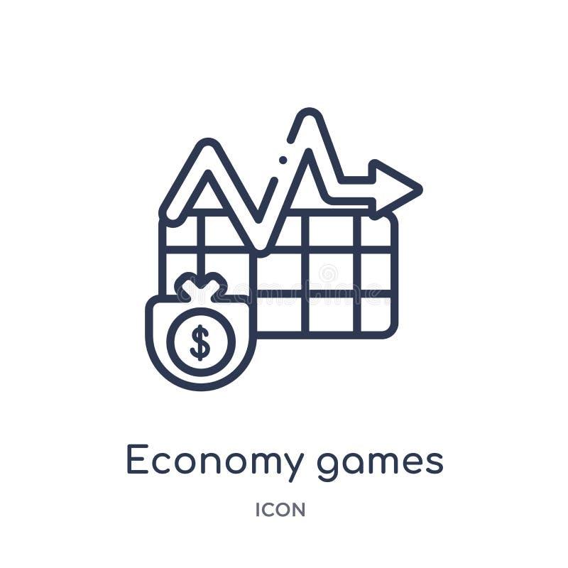 Icona lineare dei giochi di economia dalla raccolta del profilo di affari Linea sottile icona dei giochi di economia isolata su f illustrazione di stock