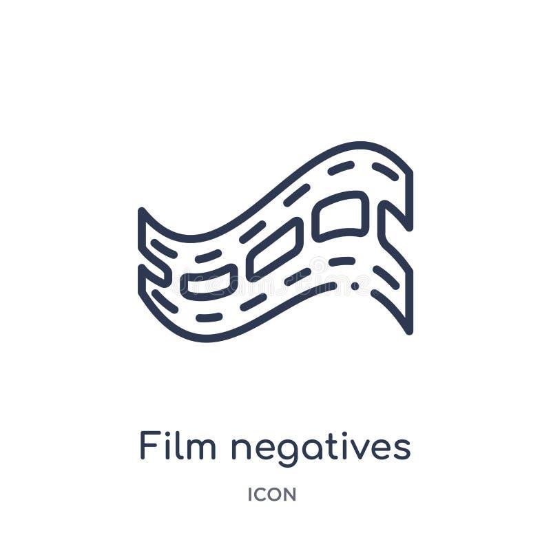 Icona lineare dei negativi di film dalla raccolta del profilo del cinema Vettore sottile delle negazioni di pellicola a alto cont royalty illustrazione gratis