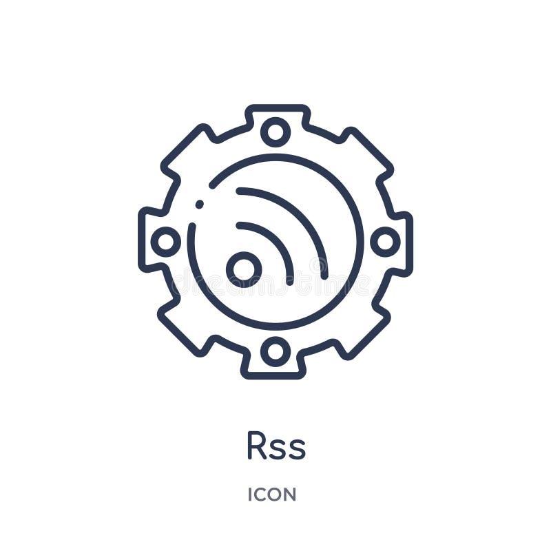 Icona lineare dei rss dalla raccolta commercializzante del profilo Linea sottile icona dei rss isolata su fondo bianco illustrazi illustrazione di stock