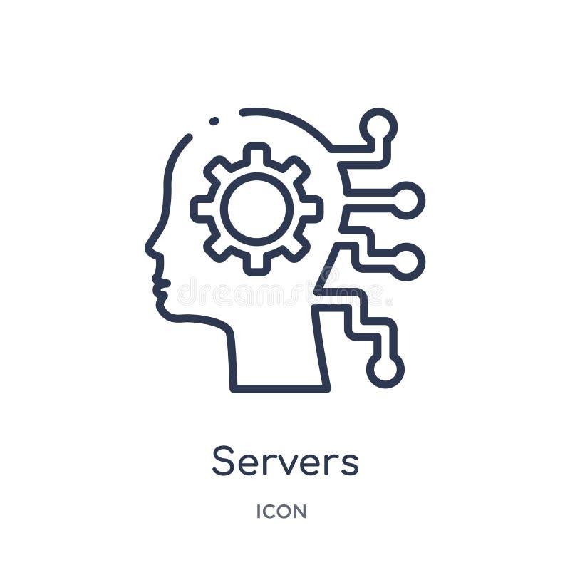 Icona lineare dei server dal intellegence artificiale e dalla raccolta futura del profilo di tecnologia Linea sottile vettore dei illustrazione vettoriale