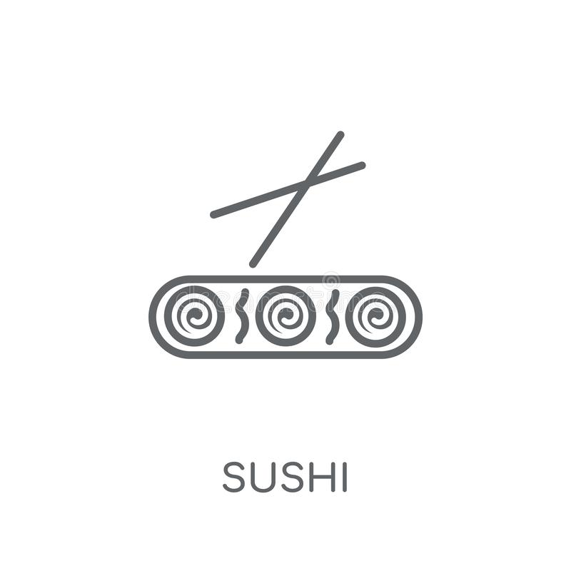Icona lineare dei sushi Concetto moderno di logo dei sushi del profilo sulle sedere bianche royalty illustrazione gratis
