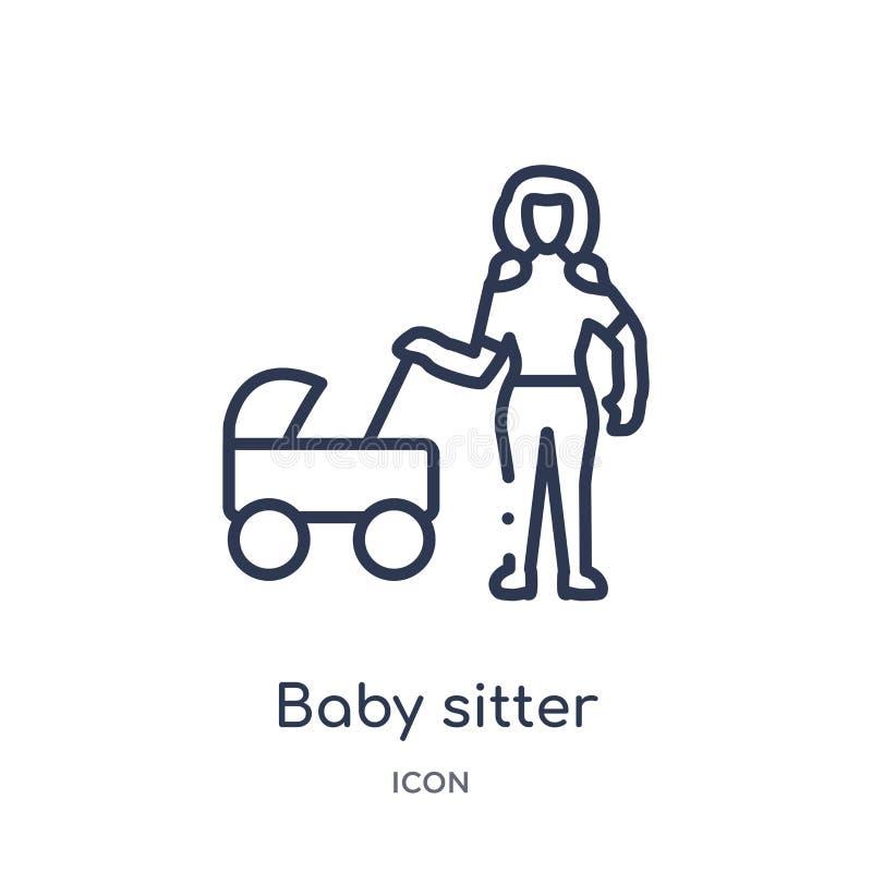 Icona lineare del baby sitter dalla raccolta del profilo delle signore Linea sottile icona del baby sitter isolata su fondo bianc illustrazione vettoriale
