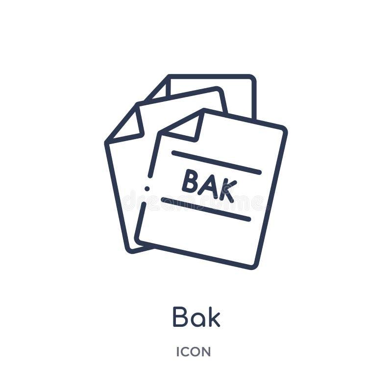 Icona lineare del bak dal tipo di archivio raccolta del profilo Linea sottile vettore del bak isolato su fondo bianco illustrazio illustrazione di stock