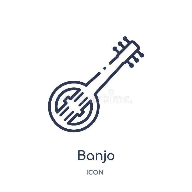 Icona lineare del banjo dalla raccolta del profilo dell'Africa Linea sottile vettore del banjo isolato su fondo bianco illustrazi illustrazione vettoriale