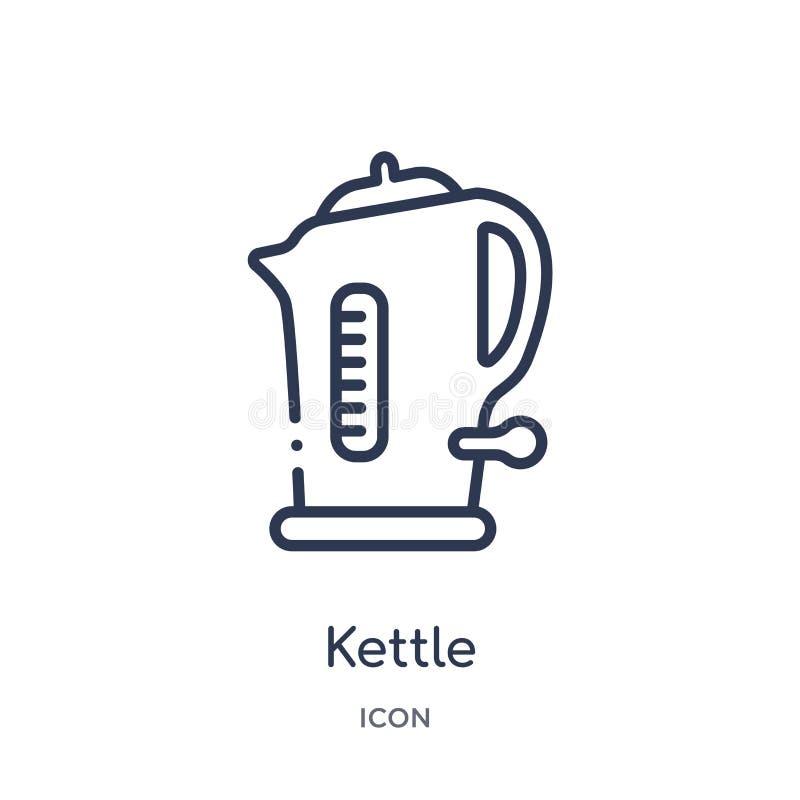 Icona lineare del bollitore dalla raccolta futura del profilo di tecnologia Linea sottile icona del bollitore isolata su fondo bi illustrazione di stock