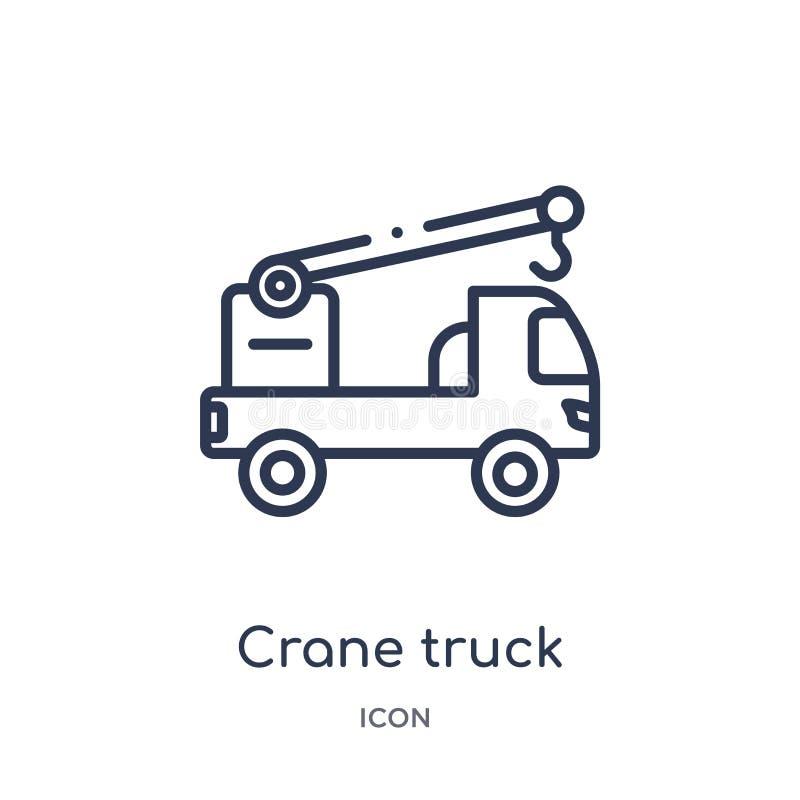 Icona lineare del camion della gru dalla raccolta del profilo della costruzione Linea sottile vettore del camion della gru isolat illustrazione di stock