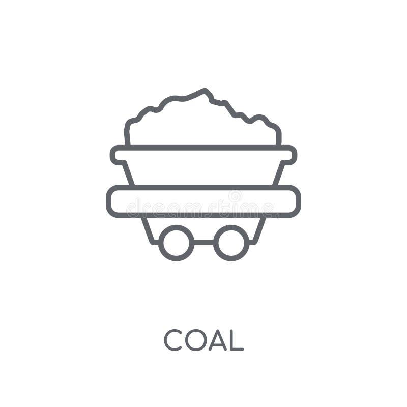 Icona lineare del carbone Concetto moderno di logo del carbone del profilo sulla parte posteriore bianca illustrazione vettoriale