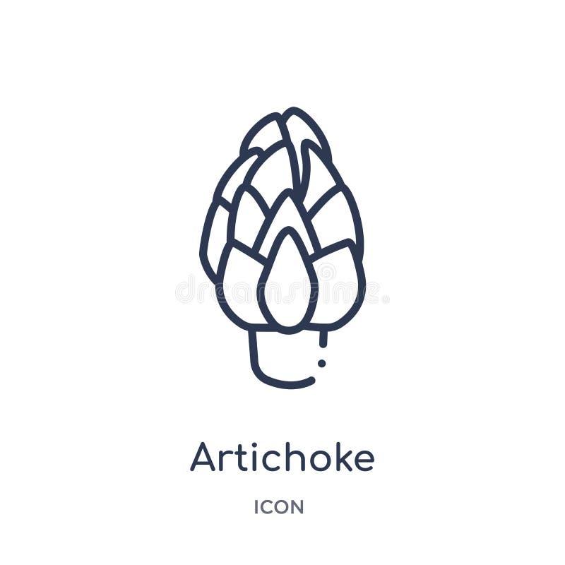 Icona lineare del carciofo dalla raccolta del profilo di frutti Linea sottile icona del carciofo isolata su fondo bianco carciofo illustrazione di stock
