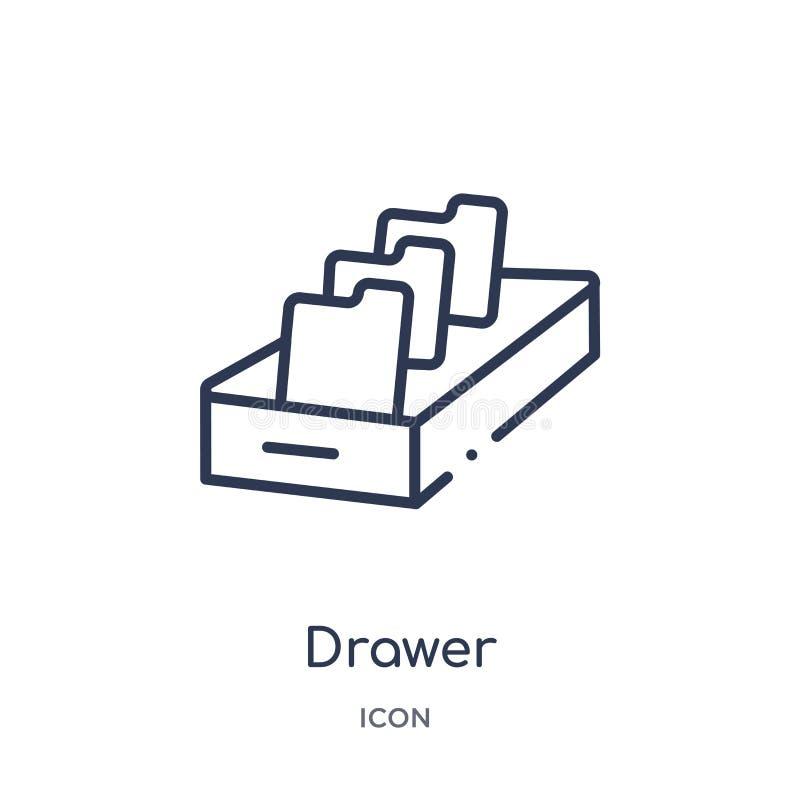 Icona lineare del cassetto dalla raccolta contenta del profilo Linea sottile vettore del cassetto isolato su fondo bianco cassett royalty illustrazione gratis