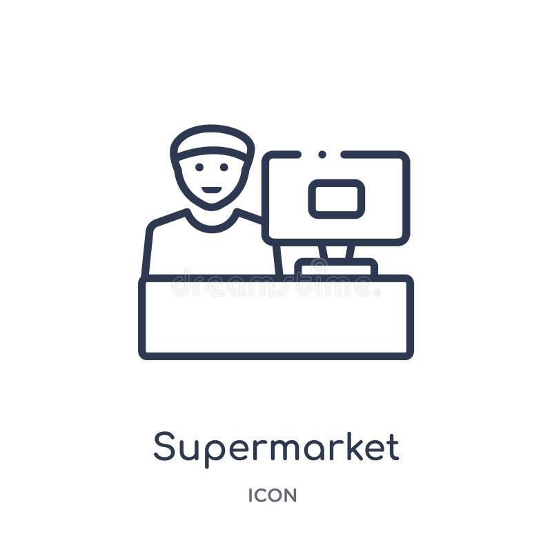 Icona lineare del cassiere del supermercato dalla raccolta del profilo di affari Linea sottile icona del cassiere del supermercat royalty illustrazione gratis