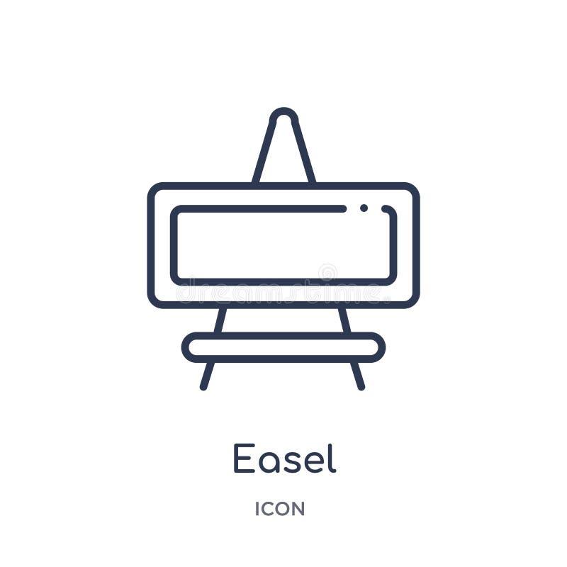 Icona lineare del cavalletto dalla raccolta del profilo di istruzione Linea sottile vettore del cavalletto isolato su fondo bianc illustrazione di stock