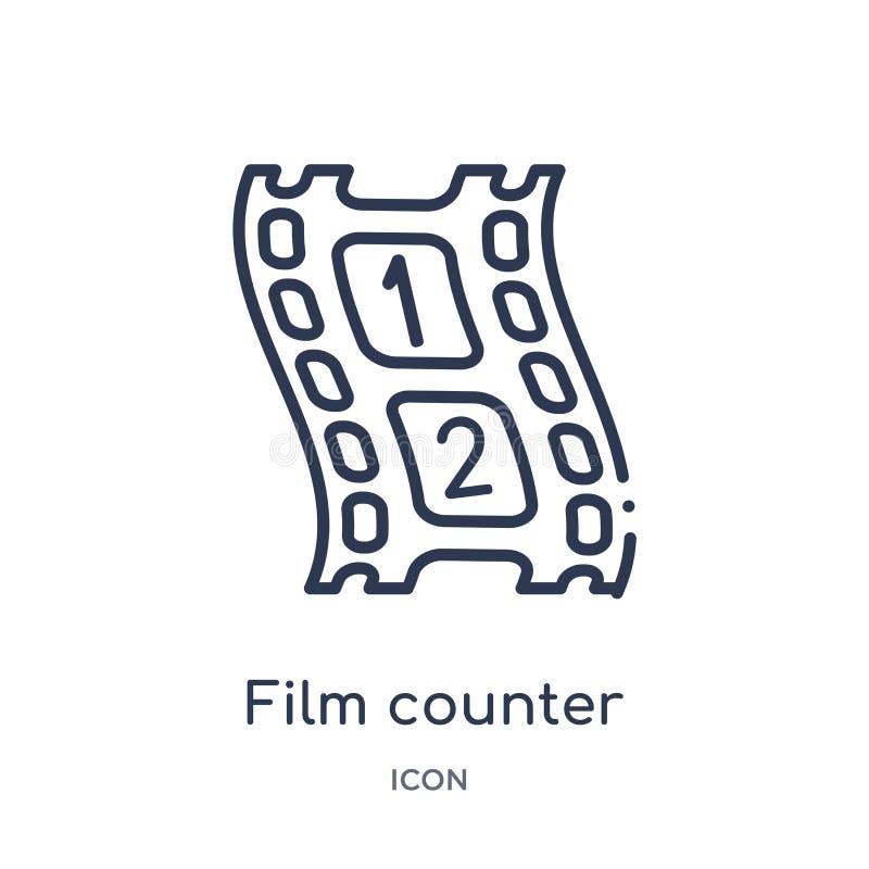 Icona lineare del contatore del film dalla raccolta del profilo del cinema Vettore sottile del contatore della pellicola a alto c illustrazione di stock