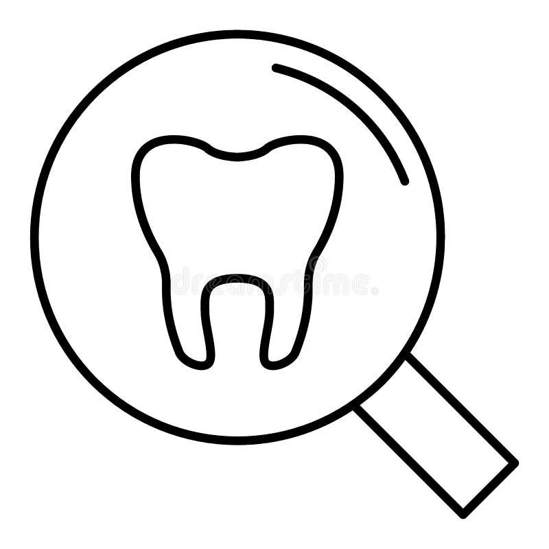 Icona lineare del controllo medico dei denti Illustrazione al tratto sottile Dente con la lente d'ingrandimento Simbolo di contor illustrazione vettoriale