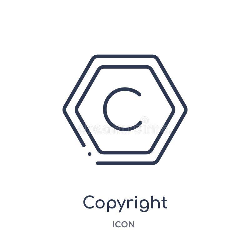 Icona lineare del copyright dalla raccolta contenta del profilo Linea sottile vettore del copyright isolato su fondo bianco copyr illustrazione di stock
