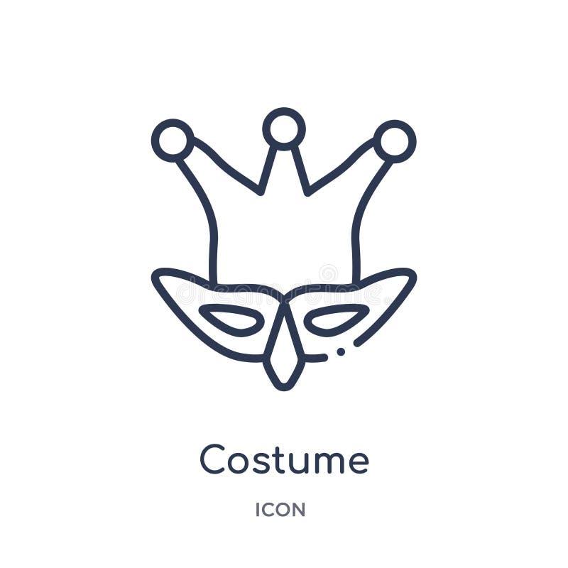 Icona lineare del costume dalla raccolta del profilo di Brazilia Linea sottile vettore del costume isolato su fondo bianco costum royalty illustrazione gratis