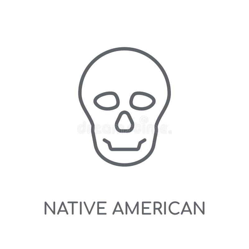 Icona lineare del cranio del nativo americano Profilo moderno America indigena illustrazione vettoriale