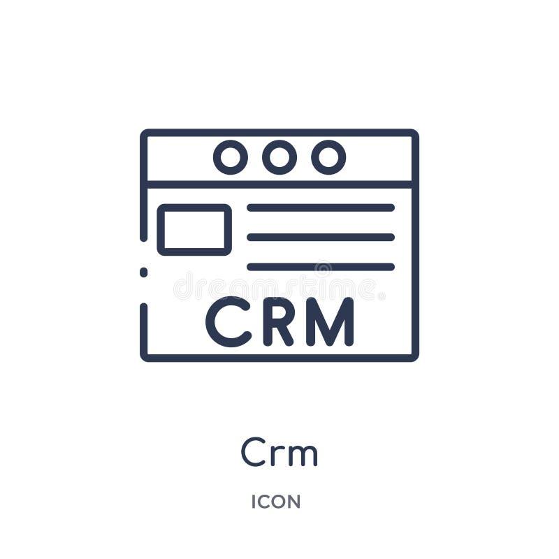 Icona lineare del crm dalla raccolta commercializzante del profilo Linea sottile icona del crm isolata su fondo bianco illustrazi illustrazione vettoriale