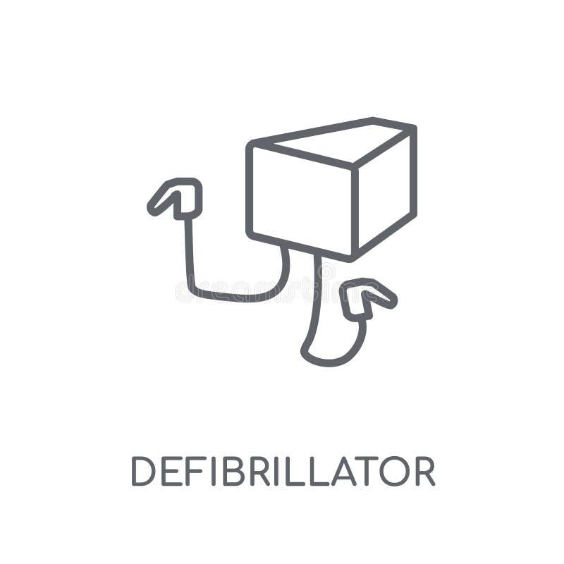 Icona lineare del defibrillatore Raggiro moderno di logo del defibrillatore del profilo illustrazione di stock