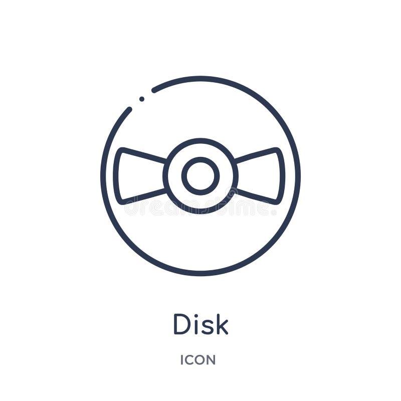Icona lineare del disco dalla raccolta del profilo della geometria Linea sottile icona del disco isolata su fondo bianco illustra illustrazione vettoriale