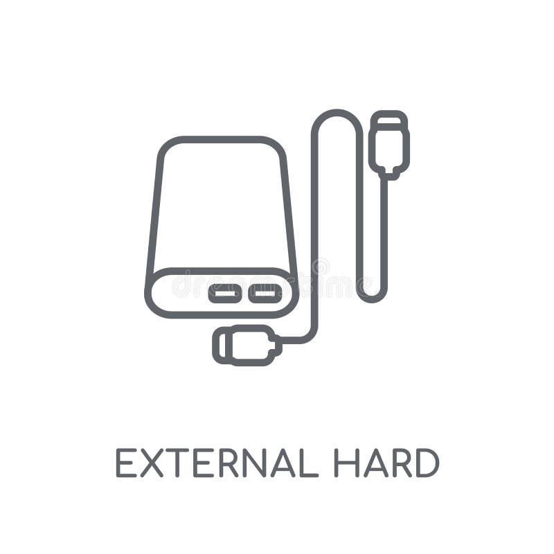 Icona lineare del disco rigido esterno Dott. duro esterno del profilo moderno royalty illustrazione gratis