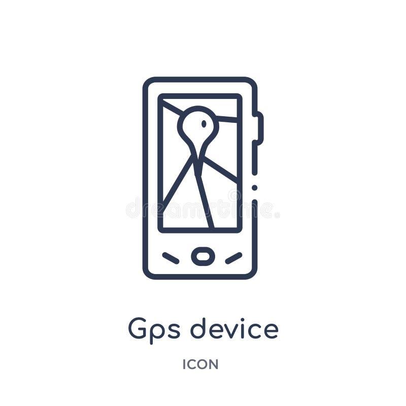 Icona lineare del dispositivo dei gps dalla raccolta del profilo di posizioni e delle mappe Linea sottile icona del dispositivo d illustrazione di stock