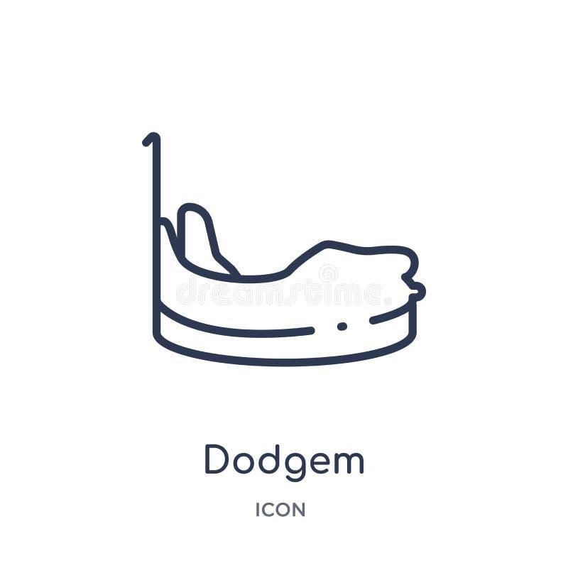 Icona lineare del dodgem dai bambini e dalla raccolta del profilo del bambino Linea sottile icona del dodgem isolata su fondo bia illustrazione di stock