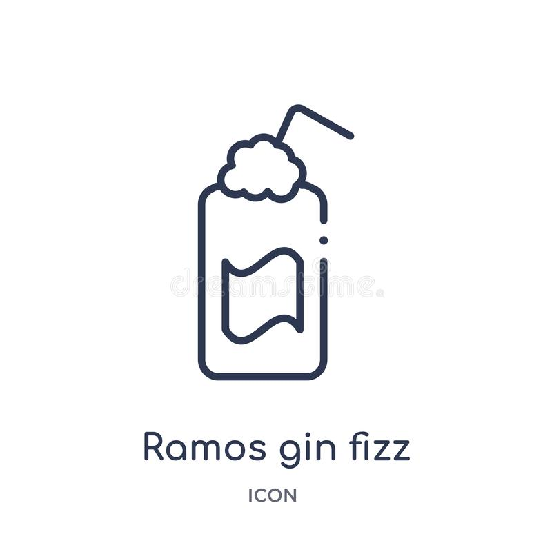 Icona lineare del gin Fizz del gin di Ramos dalla raccolta del profilo delle bevande Linea sottile vettore del gin Fizz del gin d illustrazione vettoriale