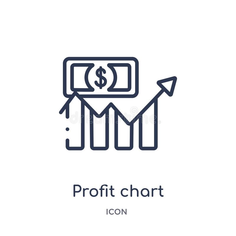 Icona lineare del grafico di profitto dalla raccolta del profilo di affari Linea sottile icona del grafico di profitto isolata su illustrazione di stock